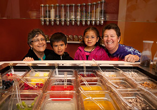Students and teachers in cafeteria